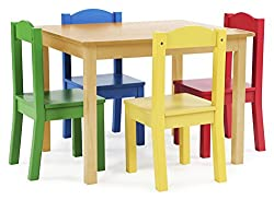 Tot Tutors Kids Wood Table and 4 Chairs Set, Natural/Primary (Primary Collection)