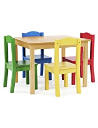 Tot Tutors Kids Wood Table and 4 Chairs Set, Natural/Primary (Primary Collection) BOBEBE Online Baby Store From New York to Miami and Los Angeles