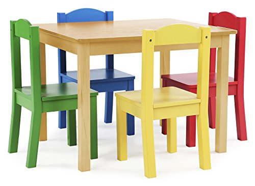 Tot Tutors Kids Wood Table and 4 Chairs Set, Natural/Primary (Primary Collection) - Wooden Kids Furniture