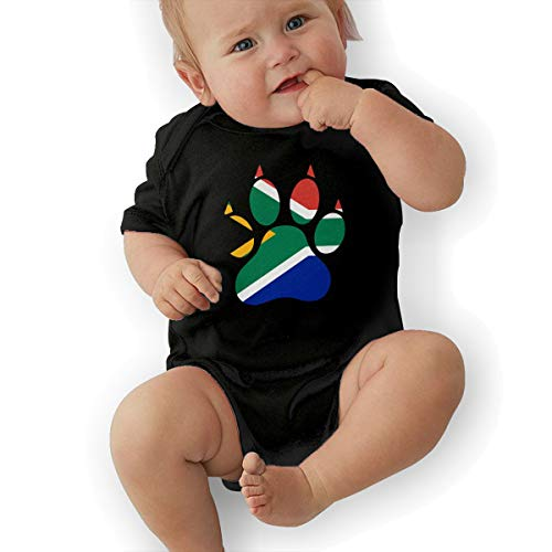 Short Sleeve Cotton Bodysuit for Unisex Baby, Cute South Africa Dog Paw Playsuit Black]()