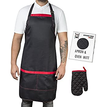 Professional Aprons for Men | Mens Apron with 2 Large Pockets - Cotton Adjustable up to XXL Chef Apron for Kitchen Grill BBQ Restaurant Barbecue - Cook with Long Black Cloth Bib + Oven Mitt