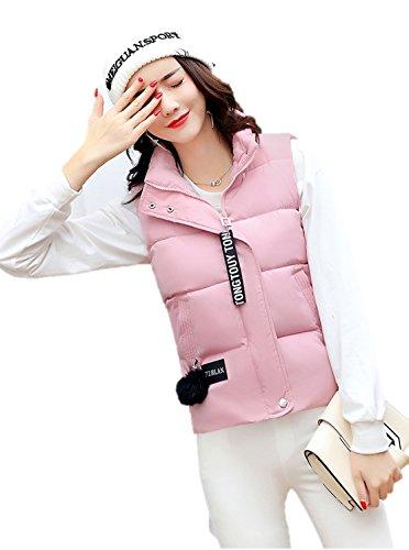 擬人化バケツホームレディース ダウン ベスト フード 付き 中綿 可愛い 防寒 防風 袖なし アウター あったか K12681 (M, ピンク)