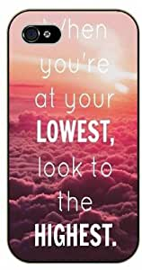 LJF phone case When you are at your LOWEST, look to the HIGHEST / Pink clouds - Sky - Bible verse iPhone 5 / 5s black plastic case / Christian Verses
