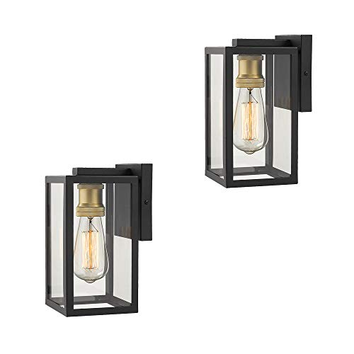 Zeyu Outdoor Wall Lights 2 Pack, Exterior Wall Sconces, Black and Gold Finish with Clear Glass, 02A150-2PK BK