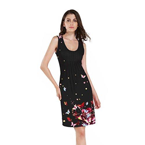 Upxiang Frauen Kleid Damen Sleeveless O Ansatz Schmetterlings ...