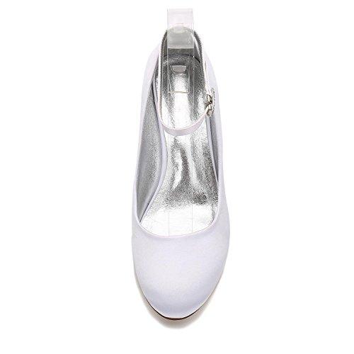 L@YC Womens Wedding Schuhe E17061-12 Satin Runde Zehe Flach Schließen Zehen Schnalle Sommer Work Court Schuhe Elegant Champagne