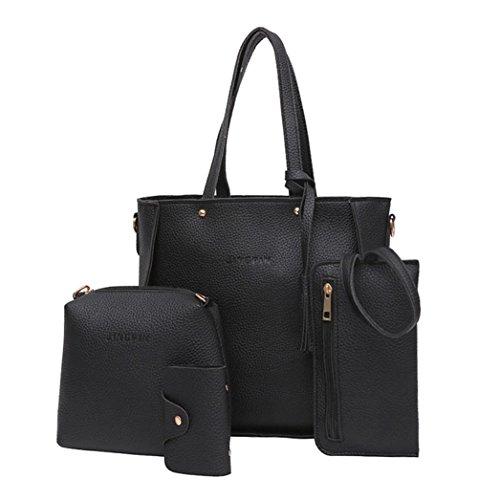 Sunyastor Women Four Set Handbag Shoulder Bags Four Pieces Tote Bag Crossbody Wallet Casual Work Bag Travel Bags Shopping Bag (Black, ONE Size)