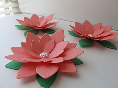 Amazon set of 3 coral lotus paper flowers big 4 inch water set of 3 coral lotus paper flowers big 4 inch water lily floral decor unique wall hanging decorations nursery mightylinksfo