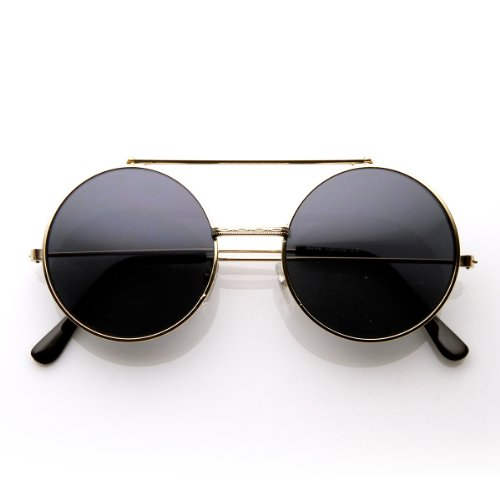 zeroUV - Limited Edition Color Flip-Up Lens Round Circle Django Sunglasses (Gold - Circle Lenses Color Contact