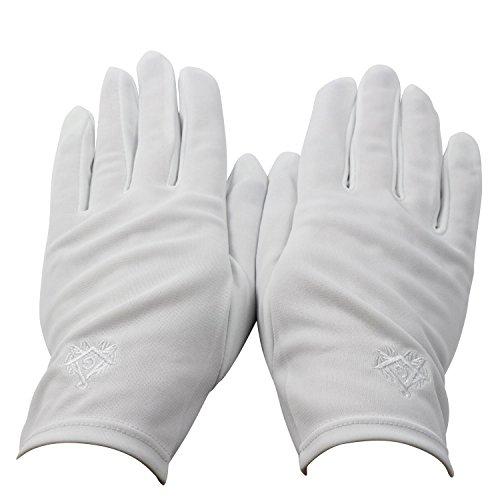 Gants blancs francs maçons, en nylon broderie blanche