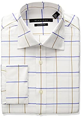Sean John Men's Tailored Fit Window Check Spread Collar Dress Shirt