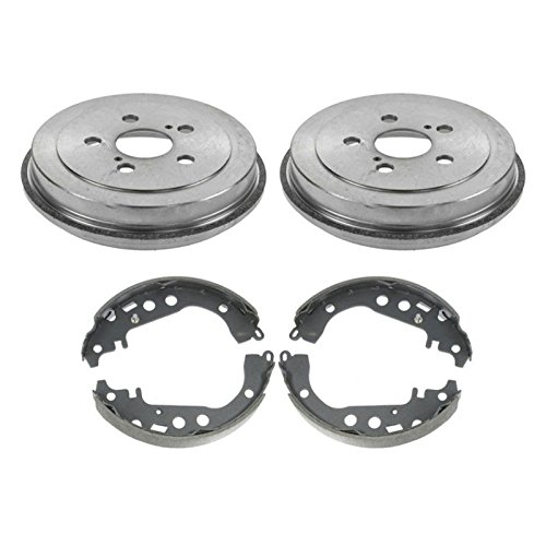 (Rear Brake Drums & Shoes Left & Right Kit for 00-05 Toyota Celica 5 Lug)