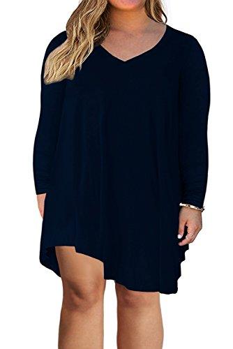 Nemidor Women's V Neckline Long Sleeve Casual Loose Plus Size T-Shirt Dress (24W, Navy)