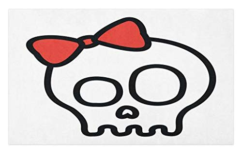 Lunarable Skull Doormat, Illustration of Baby Skull Girl with Lace and Halloween Dead Head Teen Emo Art, Decorative Polyester Floor Mat with Non-Skid Backing, 30 W X 18 L Inches, Red White Black ()