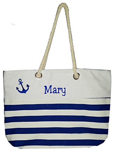 (Custom Nautical Stripe Anchor Accent Zipper Beach Bag Tote with Rope Handles (Personalized, Navy Blue))