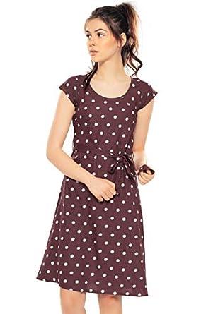 ZEYO Women's Rayon & Cotton Polka Dots Knee Length Night Gown