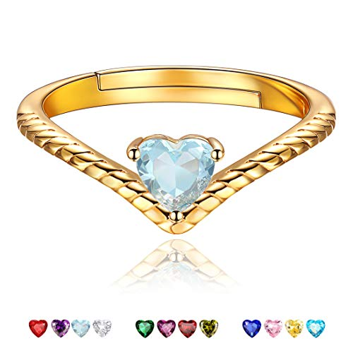 Mar Birthstone Promise Rings Ocean Blue Crystal Jewelry Love Heart 18K Gold Plated Sterling Silver Eternity Bands Engagement Rings for Her