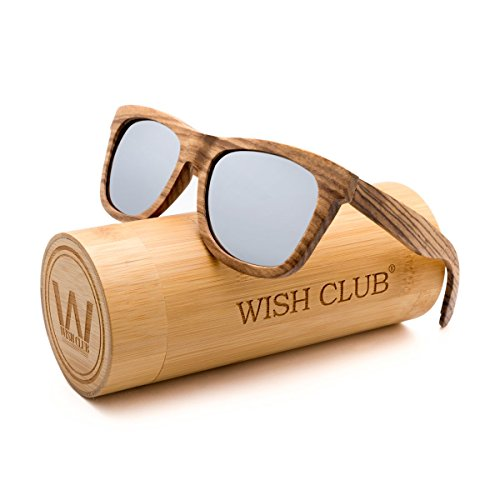 WISH CLUB Wayfarer Polarized Lenses Wood Frame Sunglasses for Women and Men Rimmed Mirrored Wooden Bamboo Eyewear for Unisex Mens Light Round Glasses with Box UV 400 Protection - Frame Glasses Wooden