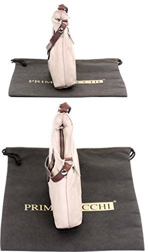 de sac à triple Clair sangle cuir sacs main transversale en Primo compartiment souple ou frontale Sacchi fait sangle bandoulière à italienne réglable corps petite Beige main WwBU4qA40