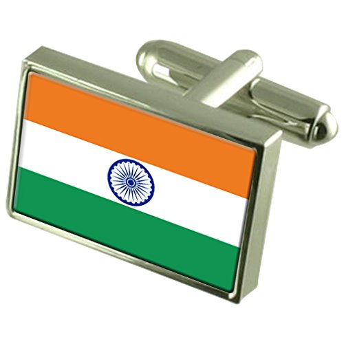 India Sterling Silver Flag Cufflinks by Select Gifts