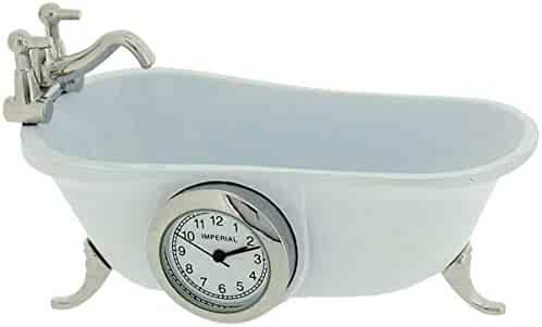 Miniature Vintage Bathtub White Quartz Movement Novelty Collectors Clock IMP1101