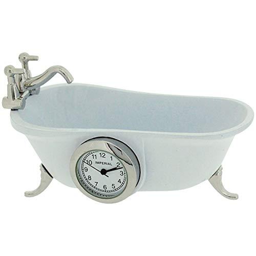 (Miniature Vintage Bathtub White Quartz Movement Novelty Collectors Clock IMP1101)