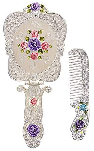 Nerien Vintage Rose Metal Mirror Comb Set Antique Hand Held Vanity Mirror Comb Set Silver