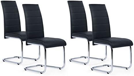IDMarket Lot de 4 chaises Mia Noires pour Salle à Manger
