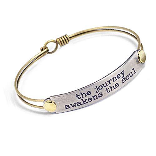 Sweet Romance The Journey Awakens The Soul Inspirational Message Bangle Bracelet - Graduation Gift