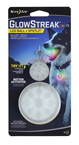 Nite Ize GlowStreak LED Dog Ball + Collar Light Combo Pack, Bounce-Activated Light Up Dog Ball, Replaceable Batteries, Disc-O Color Changing LED