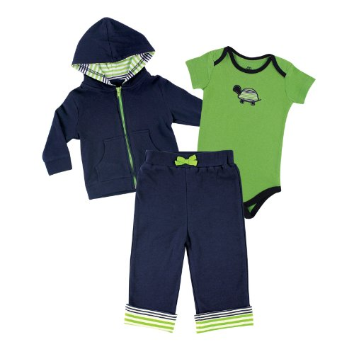 Yoga Sprout Baby 3 Piece Jacket, Top and Pant Set, Turtle, 9-12 Months (12M) (Turtle Outfit)