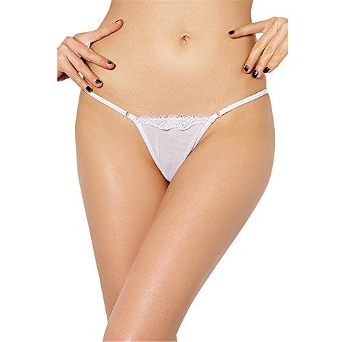 Madehappy Lace Plus Size String Hollow Out Women Underwear Panties Hot Erotic Bragas Sexy T-Back Thongs Briefs PW5083 White XXL ()