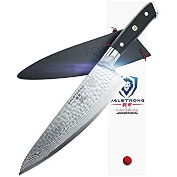 Image of DALSTRONG Chef's Knife - Shogun Series - Damascus - Japanese AUS-10V Super Steel - Vacuum Treated (8' X Chef Knife, Black) Home and Kitchen