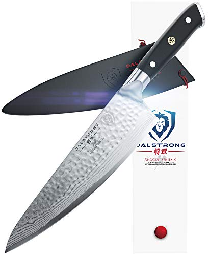 "DALSTRONG Chef's Knife - Shogun Series X Gyuto - Damascus - Japanese AUS-10V Super Steel - Vacuum Treated - Hammered Finish - 8"" - w/Guard"