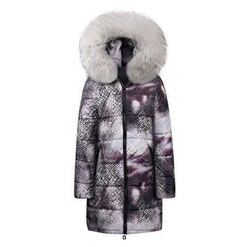 TnaIolr Woman's Winter Coat, Fashion Womens Warm Long Down Cotton Snake Print Parka Hooded Coats Jacket Plus Size