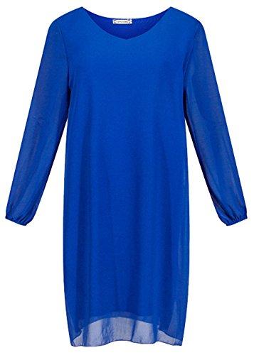 Vídeo de las mujeres gasa Cut Out Casual vestido de oficina de cóctel Slim Fit azul real