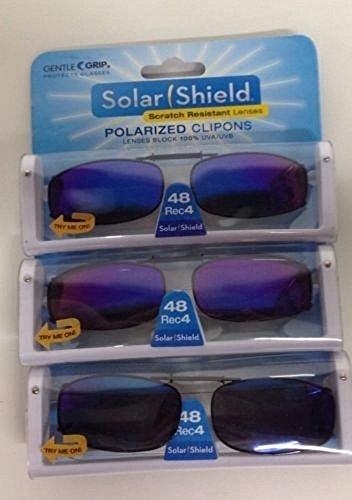 SET OF 3- SOLAR SHIELD 48 Rec 4 Blue Full Frame POLARIZED CLIP ON SUNGLASS SCRATCH RESISTANT LENSES ()