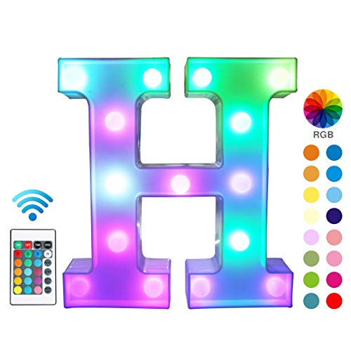Pooqla Colorful LED Marquee Letter Lights with Remote - Light Up Marquee Signs - Party Bar Letters with Lights Decorations for The Home - Multicolor H