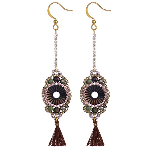 BeadChica Handmade Boho Dangle Earrings for Women Tassel Beadwork Jewelry (Color 5)
