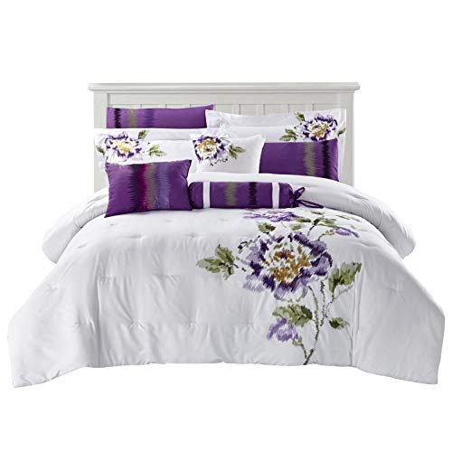 Micasa Collections Premium Quality Madisson 100% Polyester 9 PC All Seasons Microfiber Floral Design Breathable Elegant Ultra Soft Contemporary Bedroom Comforter Set (Queen) ()