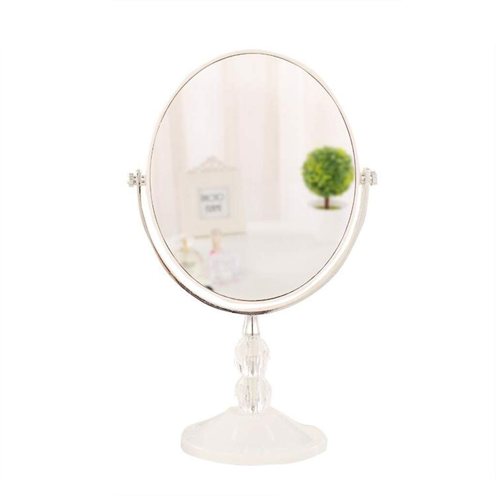 HGXC Desktop Desktop Mirror, Living Room Bedroom Dressing Room Dressing Table Oval Easy to Carry Makeup Mirror Mirror (Size : 16.627CM)