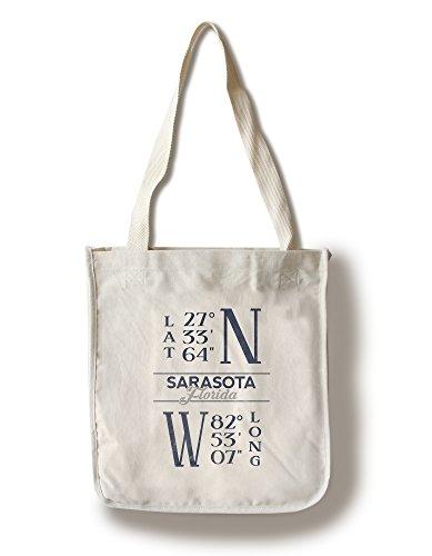 Sarasota, Florida - Latitude and Longitude (Blue) (100% Cotton Tote Bag - - Florida Shopping Sarasota