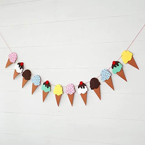 Decomod Premium Layered Felt Ice Cream Birthday Party Laser Cut Garland Banner