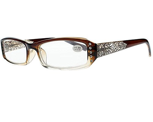 New Women Rhinestone Fashion Flowers Prints Reading Glasses +1.0 ~ +4.0 (Brown, +2.50) (Glasses Brown Reading Rhinestone)