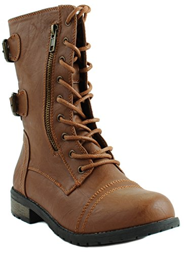 Forever Womens Mango-61 Faux Leather Lace Up Ankle Military Style Boots With Zipper Tan 8viHeC