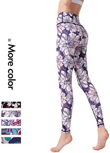 印刷されたヨガパンツ、ハイウエストクイックドライスリムフィット全身女性のズボンスポーツピラティスジムを実行するための