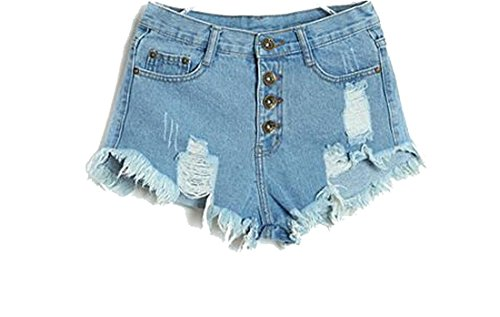 Waist Tassel Hole Denim Shorts (Blue) - 6