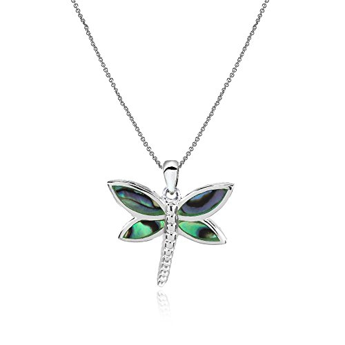 Sterling Silver Abalone Polished Dragonfly Pendant Necklace