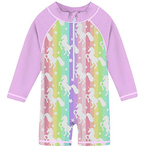 Uideazone Rainbow Stripe White Unicorn Design Quick Dry Beach Pool Seaside Party Swimsuit Sunsuit Costume for Kid Baby Girls 18-24 Months -