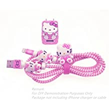 [3 In 1 Multi-Colored] Tospania DIY Protectors for iPhone4/5/6/7 Lightning Cable and USB Charger (Pink Hello Kitty)